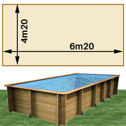 Piscine bois Woodfirst Original rectangulaire 620 x 420 x 133 cm liner sable