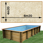 Piscine bois Woodfirst Original rectangulaire 620 x 420 x 133 cm liner stone sable