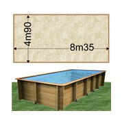 Piscine bois Woodfirst Original Rectangulaire 800 x 400 x 146 cm liner stone sable