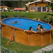 Kit piscine hors-sol Mauritius acier aspect bois ovale 500 x 300 x H132 cm