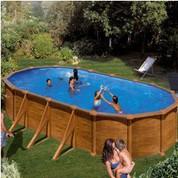 Kit piscine hors-sol Mauritius acier aspect bois ovale 730 x 375 x H132 cm