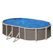 Kit piscine hors sol Fusion acier aspect rotin ovale - 5.20 m x 3.70 m x H.1.35 m