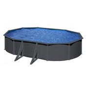 Kit piscine hors sol acier gris anthracite ovale 6.34 x 3.99 x H.1.22 m