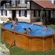 Kit piscine hors-sol Pacific acier décor bois ovale 500 x 300 x H120 cm