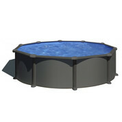 Kit piscine hors sol acier gris anthracite ronde Ø4.80 m x H.1.22 m