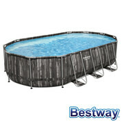 Piscine tubulaire ovale Power Steel 6.10 x 3.66 x 1.22 m - Décor bois