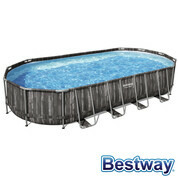 Piscine tubulaire ovale Power Steel 7.32 x 3.66 x 1.22 m - Décor bois