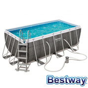 Piscine tubulaire rectangle Power Steel Swim Vista Pool Gris 4.12x2.01xH.1.22m