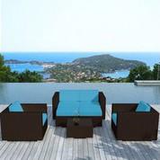Salon bas de jardin Alhena bleu en résine chocolat