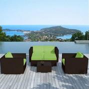 Salon bas de jardin Alhena vert en résine chocolat