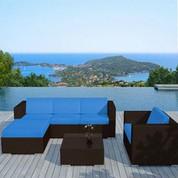 Salon bas de jardin Capella bleu en résine chocolat