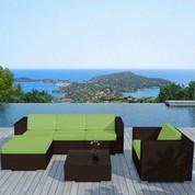 Salon bas de jardin Capella vert en résine chocolat