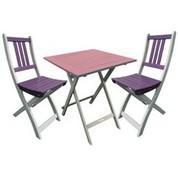 Petite table orchidée et chaises aubergines 3 pièces