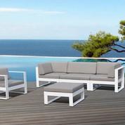salon d 39 ext rieur 6 places en thermolaqu blanc jardin. Black Bedroom Furniture Sets. Home Design Ideas