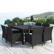 Salon repas de jardin Leda en résine noire