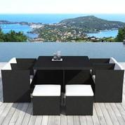 Salon repas de jardin Téthys blanc en résine noire