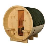 Sauna tonneau ext 2/4 pers en pin 2100x1828x1914 ep 38,5 mm