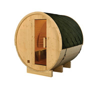 Sauna tonneau ext 4/6 pers en pin 2100x1828x1914 ep 38,5 mm