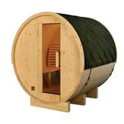 Sauna tonneau ext 4/6 pers en pin 2350x1828x1914 ep 38,5 mm