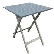 Table carrée en acacia bicolore Burano lin/gris