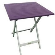 Table carrée en acacia bicolore Burano lin/aubergine