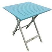 Table carrée en acacia bicolore Burano lin/bleu