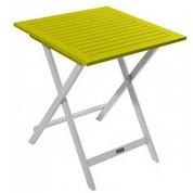 Table carrée en acacia bicolore Burano lin/vert anis