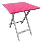 Table carrée en acacia bicolore Burano lin/fushia