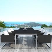 Salon repas de jardin Régulus en résine noire et aluminium brossé