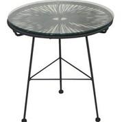 Table ronde noire et dorée Ovaly