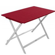 Table rectangulaire en acacia bicolore Burano muscade/rouge
