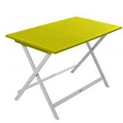 Table rectangulaire en acacia bicolore Burano muscade/vert anis