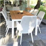 Table Somero en aluminium thermolaqué blanc teck 220/330